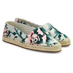 Burberry Hodgeson Floral Espadrille Flats ($375) ❤ liked on Polyvore featuring shoes, flats, pale green apple, canvas espadrille flats, canvas flats, floral print shoes, canvas espadrilles and floral flat shoes