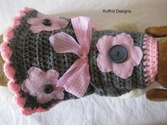 XS Flower Dog Sweater Dress New by ruffnit on Etsy,