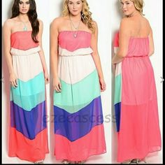 """Chevron strapless long maxi dress summer beach Strapless chevron long maxi dress. Zigzag. Available in Small, Medium, large or 3X. Color block panels/chevron Style. partially lined. Light weight semi sheer fabric bit partially lined. Aexy sexy maxi dress. Cool summer colors. Coral, mint pink and blue.  MEASUREMENTS:  Total Length=54""""     *PRICES IS FIRM UNLESS BUNDLED Dresses Maxi"""