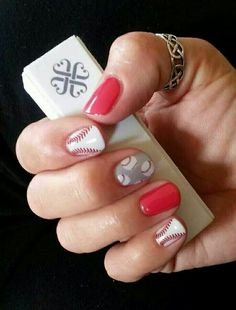 Curveball and Baseball Jamberry Nail wraps! No more trips to the salon! Non-toxic, heat activated nail wraps that last for weeks! One sheet is good for 2 manis and 2 pedis. Find your correct size for each finger, cut, heat, and stick! Application gets easier each time, no drying time, affordable and they last a long time. BUY THREE GET ONE FREE HERE: http://sarahwiley.jamberrynails.net/shop