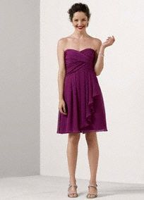 Short Crinkle Chiffon Dress with Front Cascade Style F14847   $139   at Davids Bridal Color: sangria
