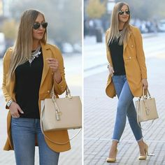 Though usually I prefer pastels, so in love w autumn shades now 🍁  #outfit details 👇🏻  @impressfashionandmore mustard blazer   @hm basic tee  @gap jeans  @cipofalva pumps  @olasztaska bag  @aliexpress.official necklace  #fashion #fashionista #streetstyle #autumnstyle #statementnecklace #ootd