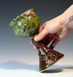 Wine goblet oak leaf acorn chalice ceramic by hughespottery