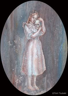 鳥居椿 「死と少女」 2011 アクリル絵具/紙  32×21.5cm 個人蔵