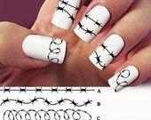 Barbed wire nail art, 4 STRIP nail decals, Nail Art design, Water Slide nail Decals, tatoo nail
