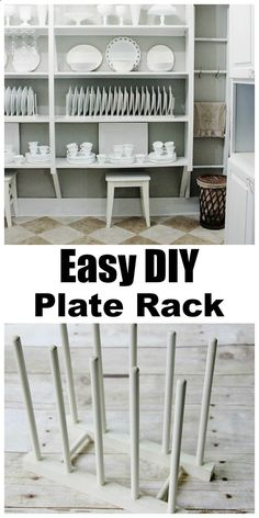 DIY: Simple Plate Display Rack - two inexpensive wood plate racks, painted  placed end to end, give the appearance of a custom plate rack in a pantry. For support, you could easily screw the racks to the shelf from underneath.