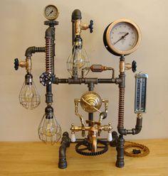 SOLD  Steampunk/Industrial Lamp 3 Edison von MotorCitySteamPunk