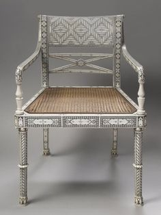 1810 Armchair Culture: Indian  In Vishakhapatnam, a city on the eastern coast of India, ivory and ivory-inlay furniture was being manufactured under European patronage from at least the early eighteenth century. The distinctive decoration produced there was achieved by engraving a pattern in the ivory that was then highlighted with black lacquer.