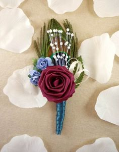 Origami Rose Boutonniere Garden Peacock Style от TheWhiteBouquet