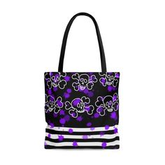 Skull And Crossbones Tote Bag Skull And Crossbones, Handmade Items, Handmade Gifts, Bag Sale, Black Cotton, Craft Supplies, Tote Bag, Skull Clothes, Trending Outfits
