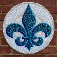 mardi gras bead art fleur de lis by desertjuan on Etsy, $250.00