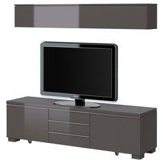BESTÅ BURS TV/storage combination - high gloss gray - IKEA  tv room