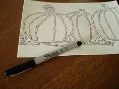 a faithful attempt: Glue Line Watercolour Pumpkins
