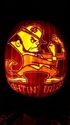 Fighting Irish pumpkin for Halloween Irish Halloween, Halloween Boo, Halloween Pumpkins, Halloween Ideas, Football Love, Notre Dame Football, Halloween Pumpkin Carving Stencils, Pumpkin Carvings, Notre Dame Wallpaper