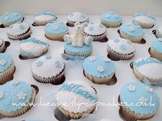 Idea for Liam's baptism cupcakes Christening Cupcakes, Baby Boy Christening, Baby Boy Cakes, Cakes For Boys, Fondant Cake Designs, Cupcake Photos, Home Baking, Pastel, Cakes And More