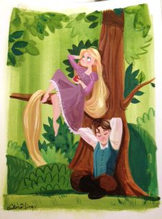 Gouache painting of Rapunzel and Flynn relaxing in the forest