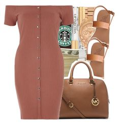 """"""""""" by glowithbria ❤ liked on Polyvore featuring Too Faced Cosmetics, Michael Kors, Ancient Greek Sandals and River Island"""