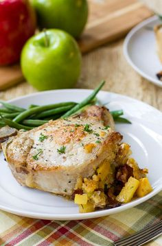 Pork Chops Stuffed with Apple-Bacon Stuffing