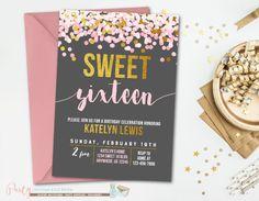 Sweet 16 Birthday Invitation Sweet 16 by PartyInvitesAndMore