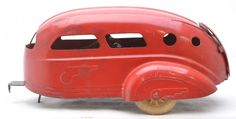 Wyandotte Toys Red Pressed Steel Camper Trailer