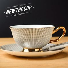 Noble Luxury Bone China Coffee Tea Cup And Saucer Spoon Set Ceramic Mug Advanced Porcelain Tray For Gift Cafe Party Glass Coffee Cups, Coffee Cup Set, Ceramic Coffee Cups, Coffee Cups And Saucers, Tea Cup Set, Cup And Saucer Set, Tea Cup Saucer, Ceramic Store, Cappuccino Coffee