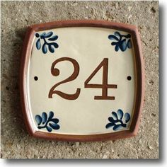 House Number Plaque. 19 cms square - Click Image to Close House Number Plaque, House Numbers, Clay Houses, Home Signs, Tiles, Arts And Crafts, Pottery, Projects, Image