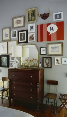 An eclectic mix of modern art, old photographs, small prints and random items with this this gallery wall.  -------------  #gallery #wall #diy #picture #frames