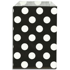 """Crisp black paper bags with bold white polka dots. Perfect for packaging cookies, candies, party favors and more!  4.75""""(12cm) x 7""""(18cm) Package of 12 - $2.25"""