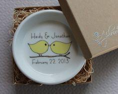CUSTOM Ceramic Ring Holder  Love Birds  you by aphroditescanvas,