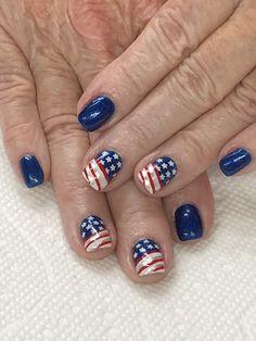of July Royal Blue Flag Nails American Flag Nails, Patriotic Nails, Blue Flag, Fashion Hub, Gel Nail Designs, Hair And Nails, Gel Nails, 4th Of July, Royal Blue