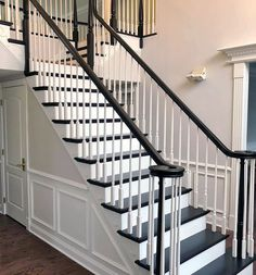 New White Wood Stain General Finishes 66 Ideas Black Stair Railing, White Staircase, Stair Banister, Wood Staircase, Staircase Remodel, Staircase Design, Staircase Ideas, Modern Staircase, Staircase Pictures