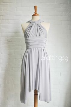 Bridesmaid Dress Infinity Dress Gray/Silver Knee Length Wrap Convertible Dress Wedding Dress on Etsy, $35.00   this grey? It's the same dress I pinned a few weeks ago but a lighter grey.