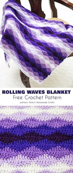 Crochet afghans 571535008961793905 - Rolling Waves Blanket Free Crochet Pattern Source by Crochet Afghans, Motifs Afghans, Crochet Throw Pattern, Afghan Crochet Patterns, Knitting Patterns, Blanket Crochet, Crochet Stitches For Blankets, Blanket Shawl, Crocheted Blankets
