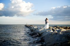 Land's End couple on the jetty at Land's End #wedding #waterfront #venue #beach #jetty #longisland #newyork #realweddings