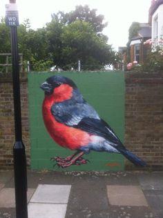 ATM @AtmStreetart  · Jun 12 2014 on Twitter shared @GAGibbens @zebrafinch @StreetArtDesign @streetartersite @LondonPculture Bullfinch #streetart #birds #TAG #Tottenham >FAB!<