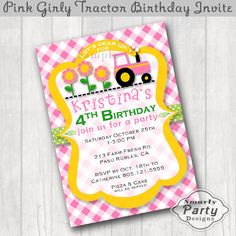 Pink Tractor Daisy Birthday Party Invite by SmartyPartyDesigns