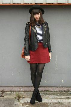 Red Leather Skirt, Breton Stripe Shirt And Black Studded Leather Jacket