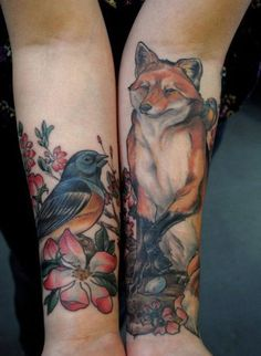 20 fox and birds tattoo