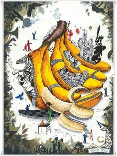 Banana Art, Surreal Art, Human Painting, Composition Art, Hippie Art, Art Projects, Art Contest, Art, Art Pictures