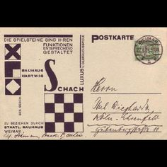 Bauhaus chess set postcard Designed by Joost Schmidt, a junior master at the Bauhaus Dessau, to promote the Josef Hartwig set. Knight Chess, Bauhaus Design, Print Design, Graphic Design, Harlem Renaissance, Postcard Design, Schmidt, Thought Provoking, Design Elements
