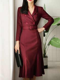 Daily Lapel Mermaid Paneled Midi Dress - Outfits for Work - Business Outfits for Work
