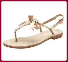 Minetom Damen Mädchen Sommer Flache Sandalen mit Schleife und Weiße Perlen  T-Riemen Zehentrenner Sandaletten Peep Toe Schuhe Gold EU 41 - Sandalen für  ... 16f0557c99