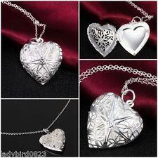 Silberkette Halskette Herzkette Medaillon Silber pl Kette Schmuck  Herzchenkette