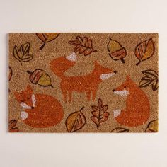 Screen-printed with our playful fox, fall leaf and acorn design, our exclusive welcome mat is an adorable harvest accent for any entrance. Fox Totem, Fantastic Fox, Fox Decor, Fox Art, Cute Fox, Welcome Mats, Happy Fall, New Furniture, Hope Chest