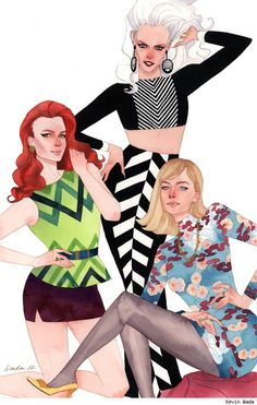 For the fashion geeks: Mary Jane Watson, Felicia Hardy & Gwen Stacy. Art by Kevin Wada.