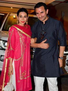 Karisma Kapoor and Saif Ali Khan at the Diwali bash hosted by the Nawab in Mumbai on Wednesday. Pics/Yogen Shah