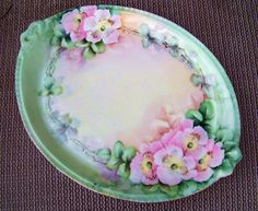 Vintage Limoges France 1900's Hand Painted Wild Pink Roses 9-3/4 Tray