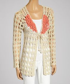 Look at this Olivia M Beige & Coral Knit Open Cardigan - Women on #zulily today!