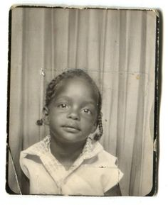 ** Vintage Photo Booth Picture ** Sweet little girl in braids. This reminds me of my Aunt Sharon!