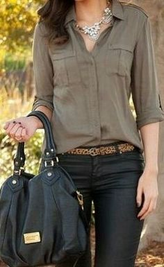 Leather pants, cheetah belt, and neutrals.